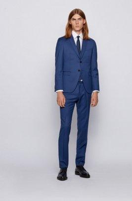 Extra-slim-fit three-piece suit in virgin wool, Dark Blue