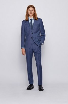 Regular-fit suit in micro-patterned traceable wool, Dark Blue