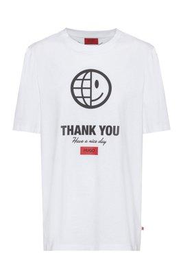 Unisex-T-Shirt aus Bio-Baumwolle mit Grafik aus der Kollektion, Weiß