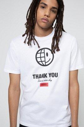 T-shirt mixte en coton biologique avec motif graphique emblématique de la collection, Blanc
