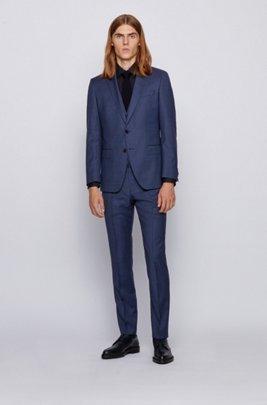 Three-piece slim-fit suit in patterned virgin wool, Dark Blue