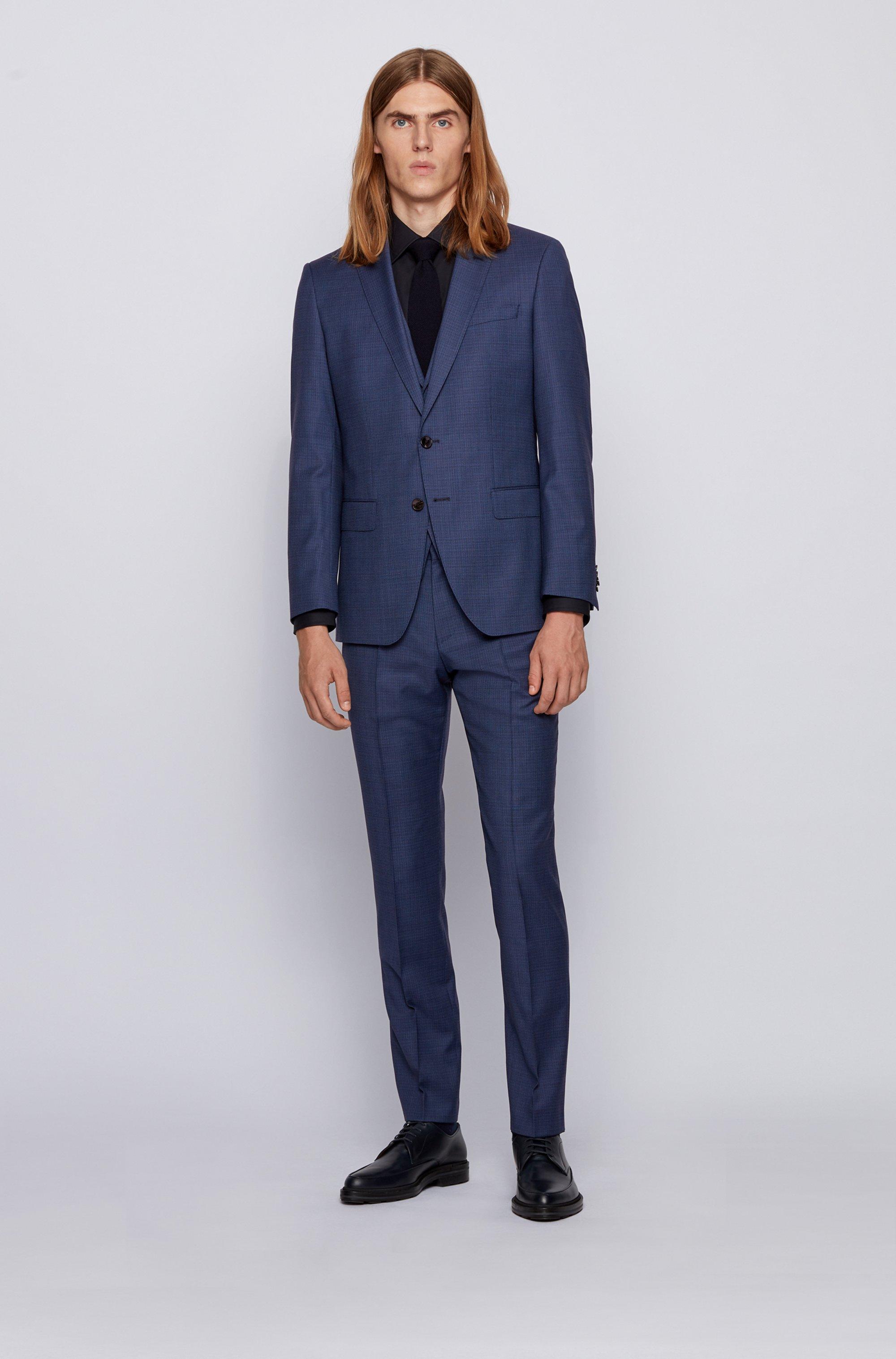 Three-piece slim-fit suit in patterned virgin wool