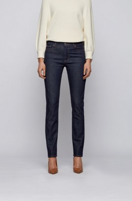 Slim-fit jeans in raw indigo stretch denim, Dark Blue