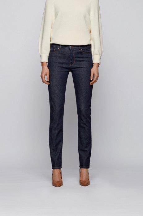 Slim-fit jeans in raw indigo stretch denim, Dark Blue