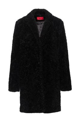 Button-through coat in teddy fabric, Black