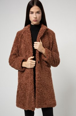 Button-through coat in teddy fabric, Brown