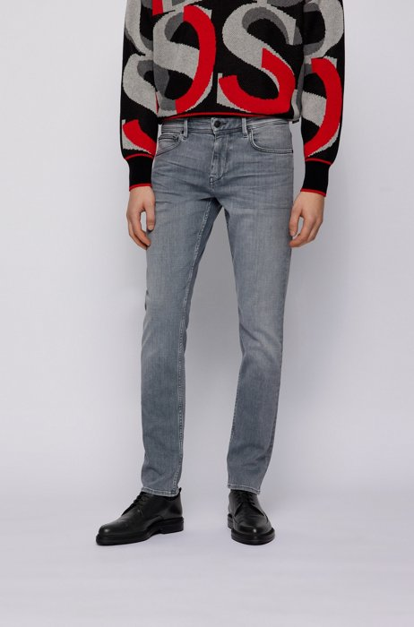 Extra-slim-fit jeans in gray soft-touch denim, Light Grey
