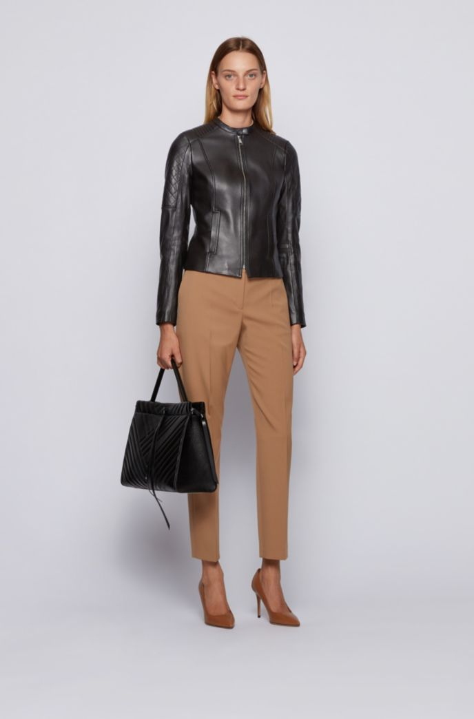 Slim-fit nappa-leather jacket with peplum waist