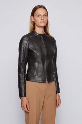 Slim-fit nappa-leather jacket with peplum waist, Black