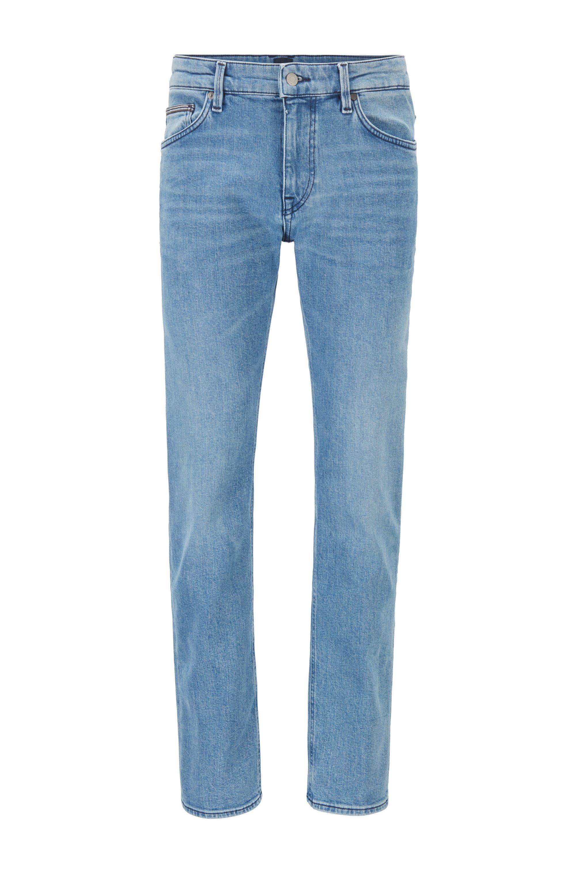 Regular-fit jeans in blue comfort-stretch denim, Turquoise