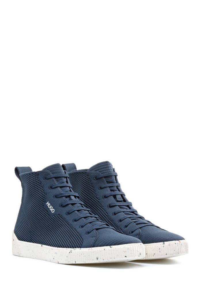 Tennis-inspired high-top trainers with REPREVE knitted uppers