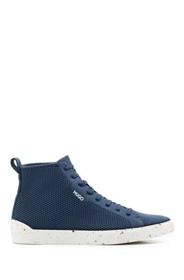 Tennis-inspired high-top trainers with REPREVE knitted uppers, Dark Blue