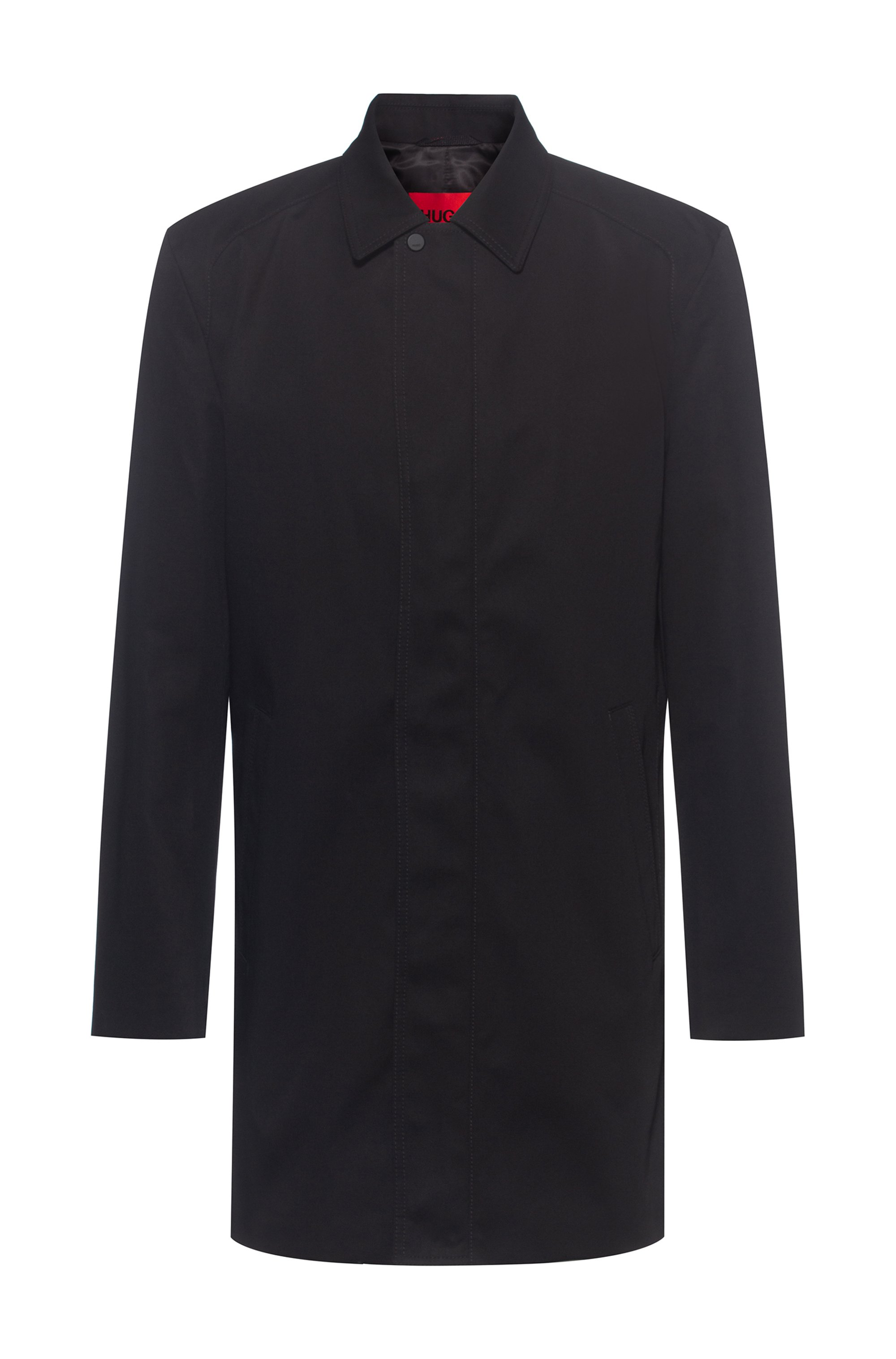 Slim-fit coat in water-repellent fabric, Black