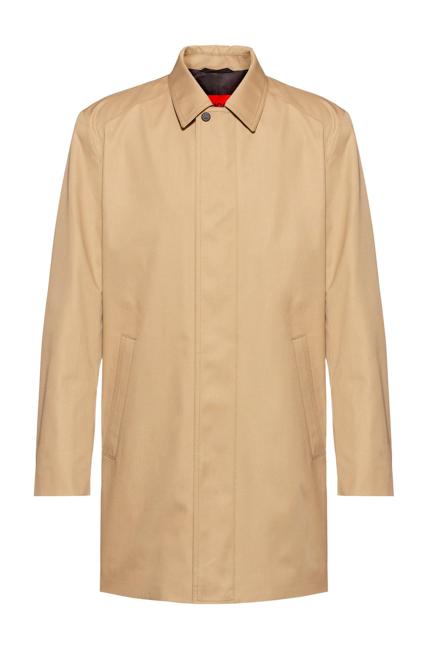 Slim-fit coat in water-repellent fabric, Beige