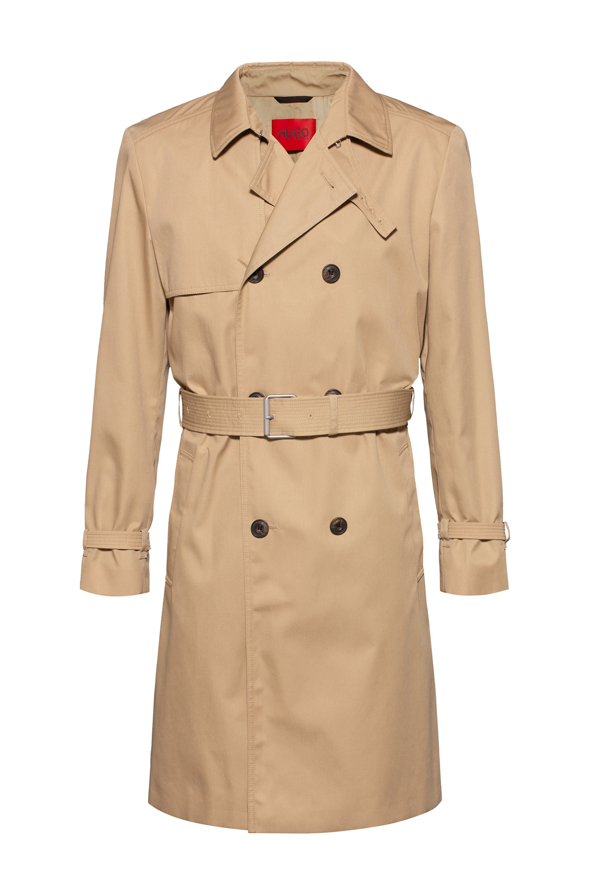 Water-repellent trench coat with adjustable belt, Beige