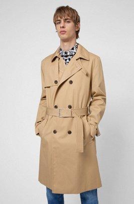 Water-repellent trench coat with adjustable belt, Beige