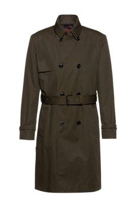 Water-repellent trench coat with adjustable belt, Dark Green