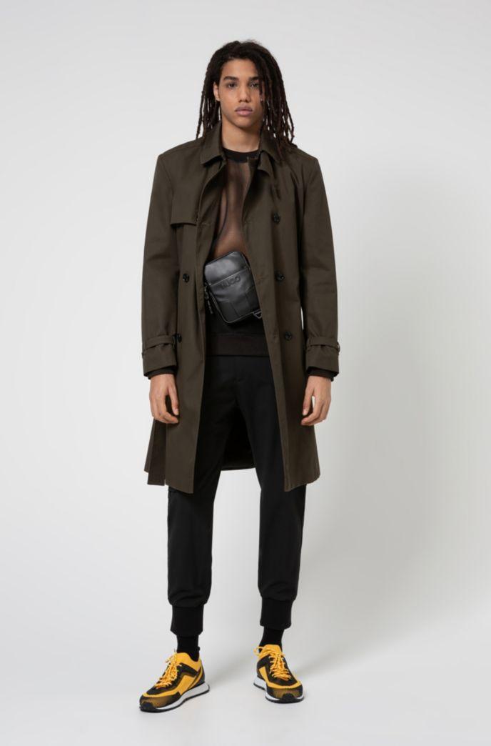 Water-repellent trench coat with adjustable belt