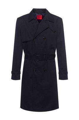 Water-repellent trench coat with adjustable belt, Dark Blue