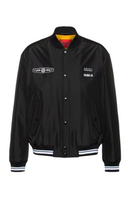 Relaxed-fit bomber jacket with statement artwork, Black