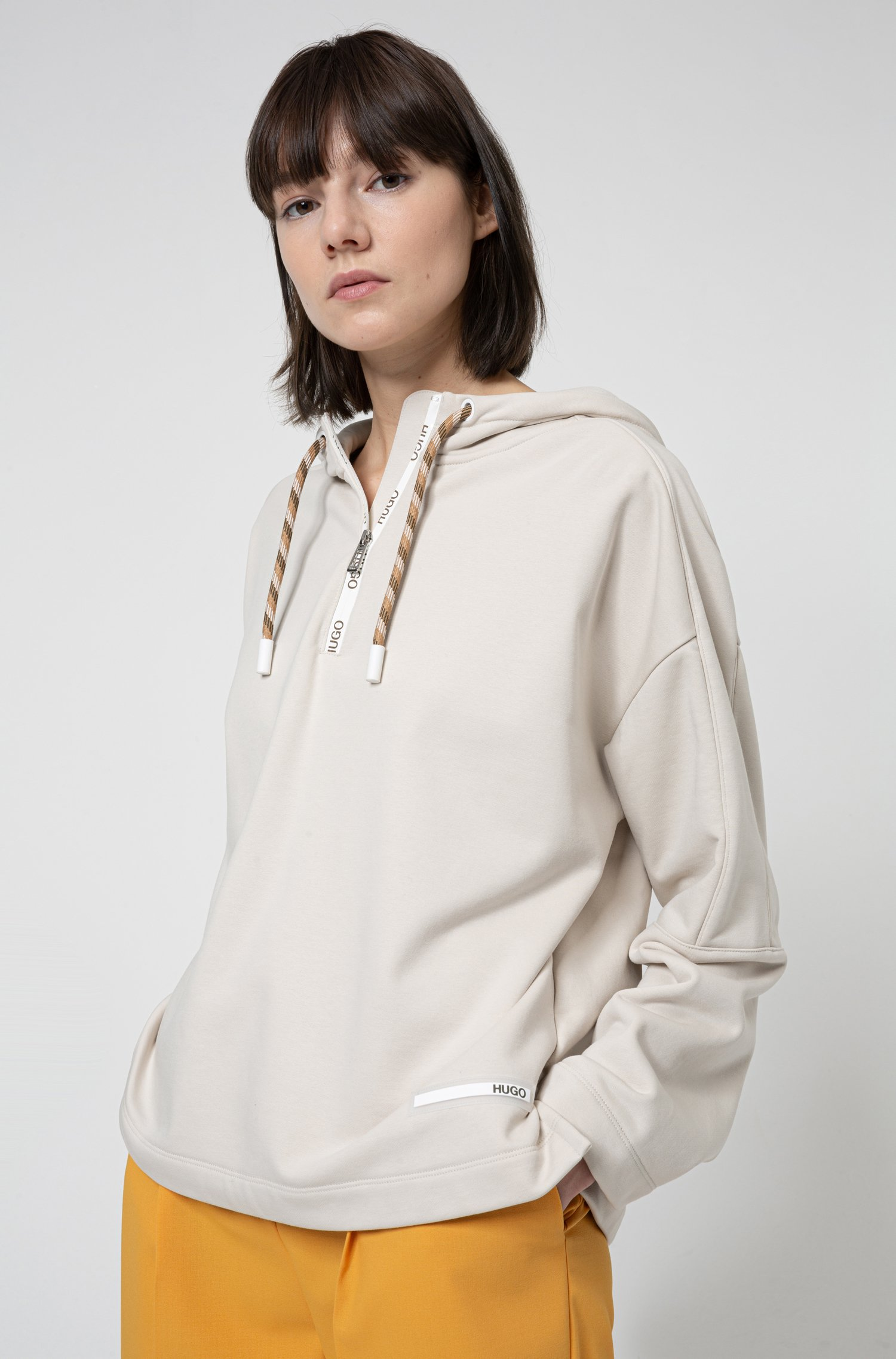 Relaxed-fit hooded sweatshirt with logo detailing, Beige