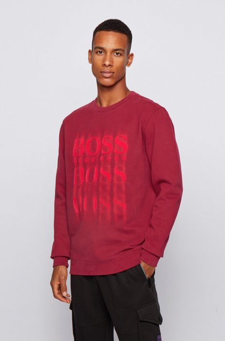 Relaxed-fit sweatshirt in French terry with blurred logo print, Dark Red