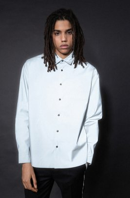 Oversized-fit shirt in reflective silver canvas, Silver