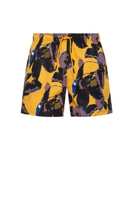 Printed swim shorts in recycled material with brushed finish, Light Yellow