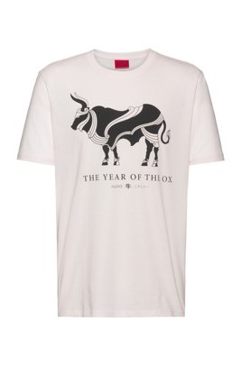 Cotton T-shirt with Year of the Ox artwork, White