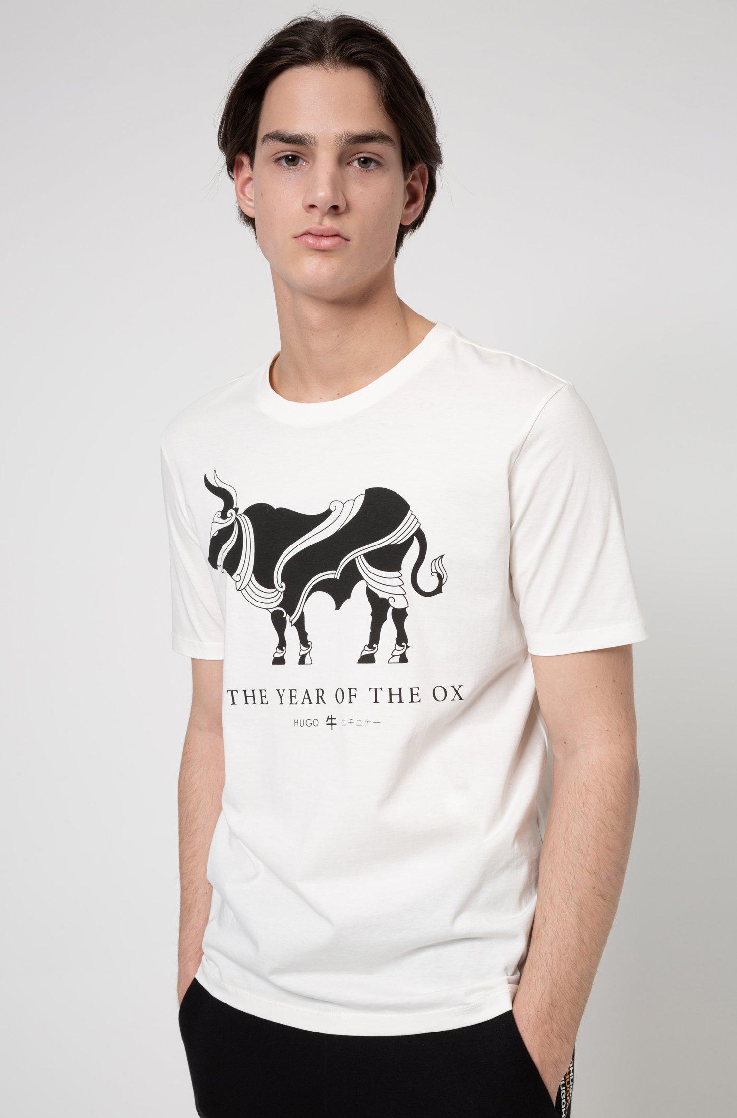 コットンTシャツ オックスアートワーク, ホワイト