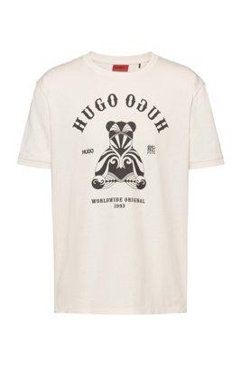 Regular-fit katoenen T-shirt met logo-artwork, Wit