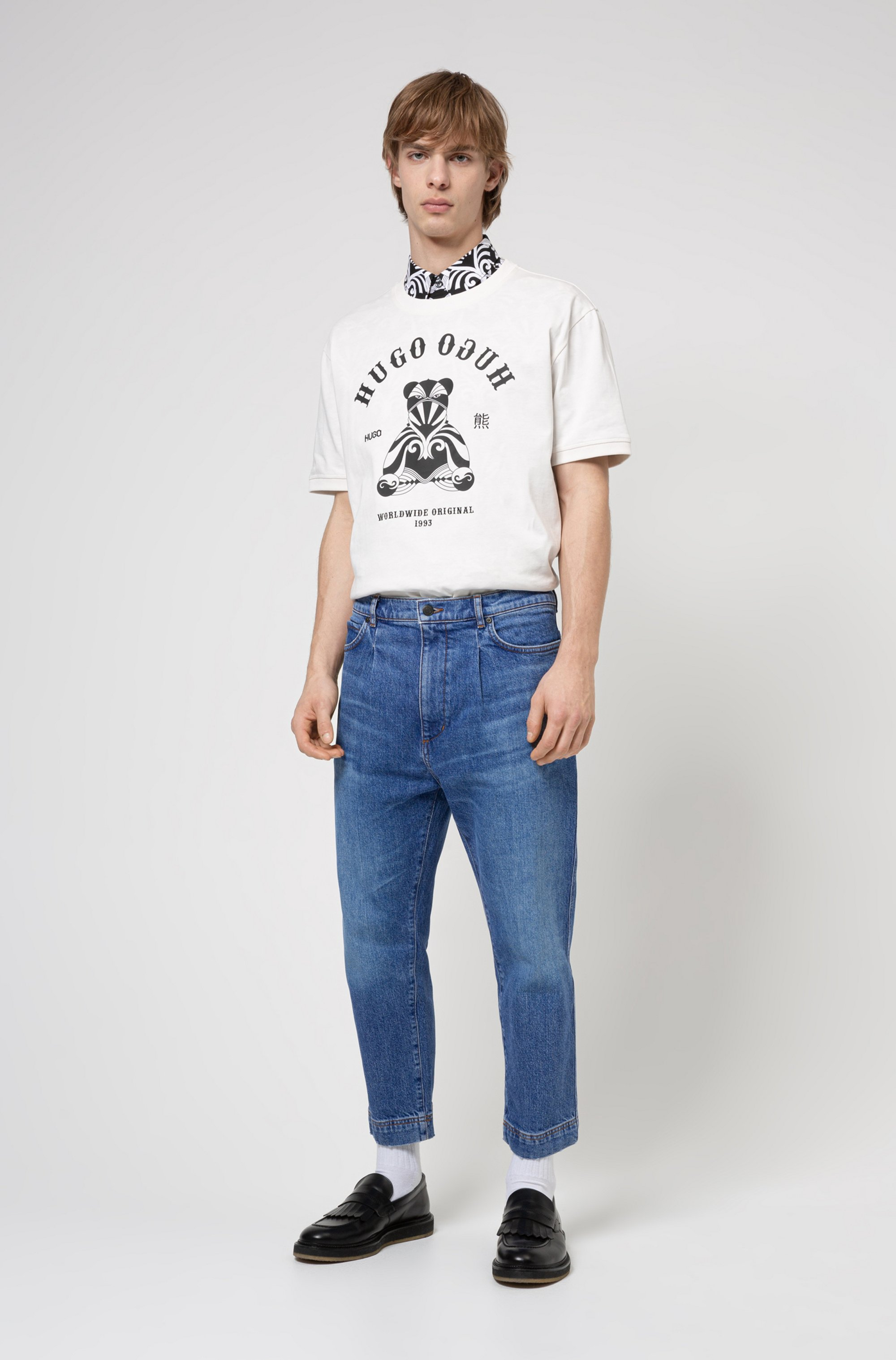 Regular-fit cotton T-shirt with bear and logo artwork
