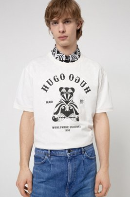 Regular-fit cotton T-shirt with bear and logo artwork, White