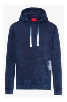 Hooded sweatshirt in Recot2® cotton with manifesto logo, Dark Blue