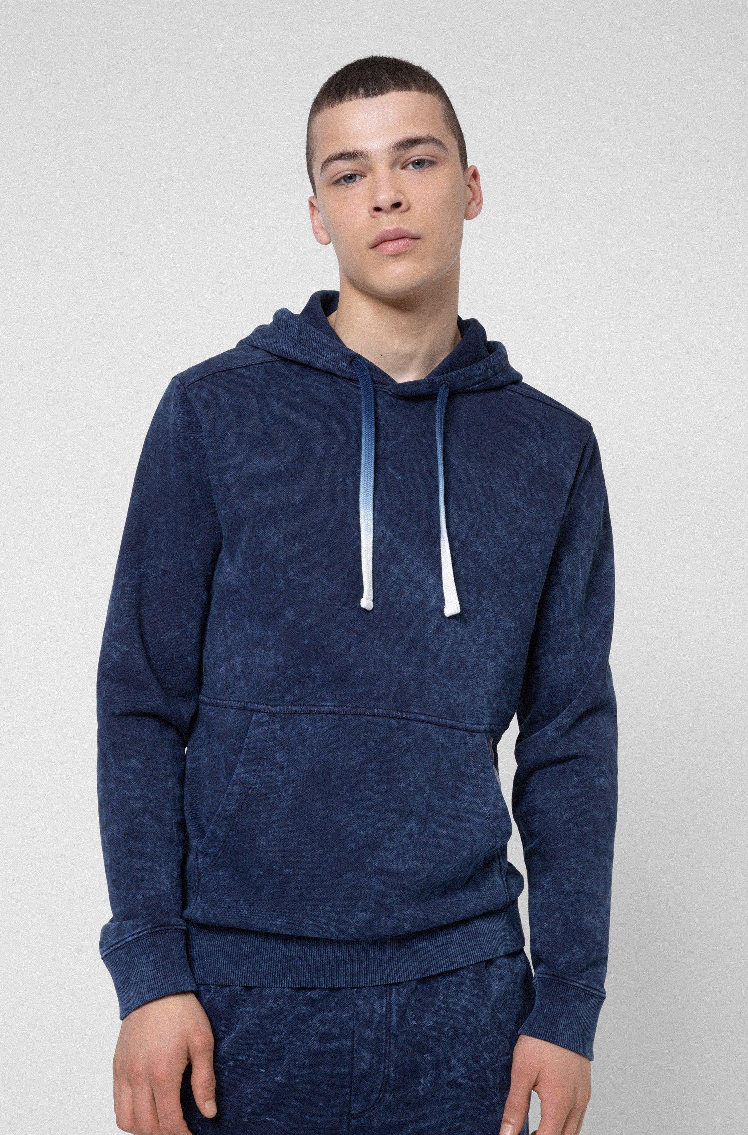 Hooded sweatshirt in Recot2® cotton with manifesto logo, Dark Blue