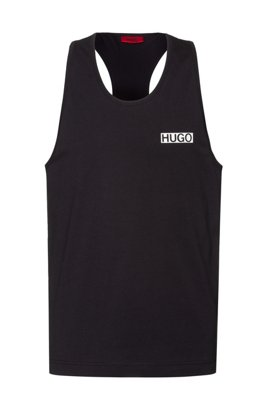 Relaxed-fit tank top in cotton with rubberised logo, Black