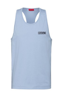 Relaxed-fit tank top in cotton with rubberised logo, Blue