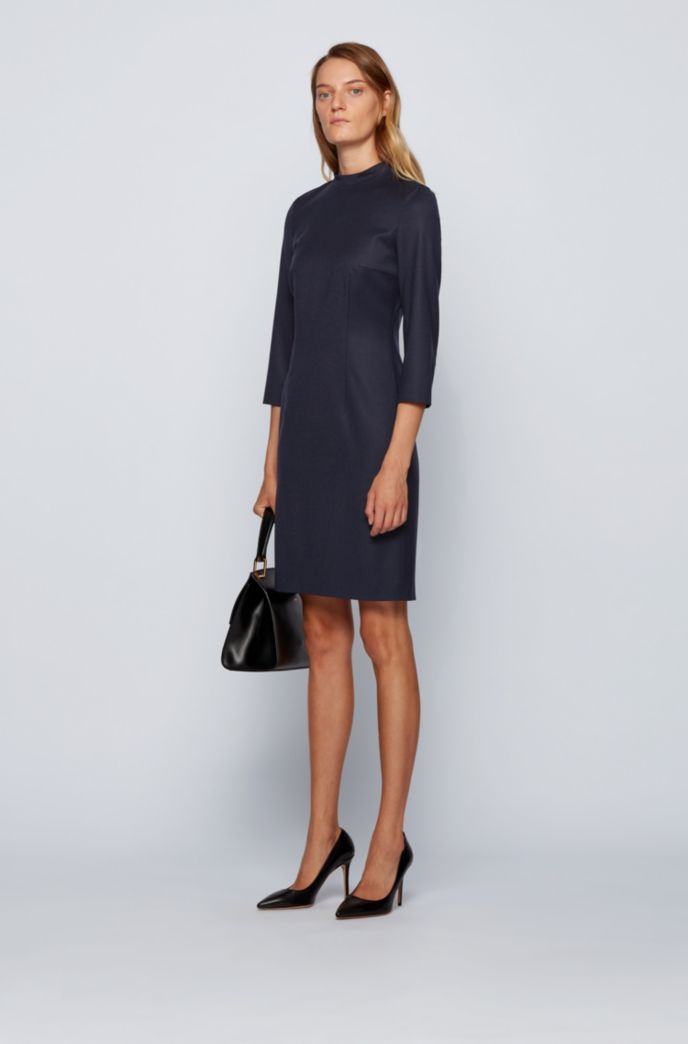 Shift dress in traceable wool with stretch and stand collar