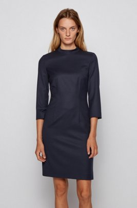 Shift dress in traceable wool with stretch and stand collar, Light Blue