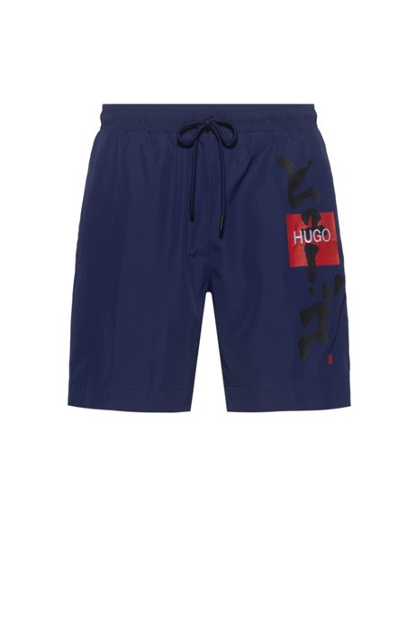 Quick-dry recycled-fabric swim shorts with Japanese ideogram, Blue