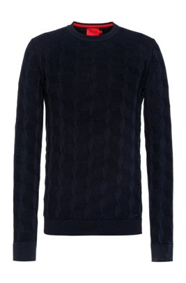 Regular-fit sweater in structured cotton, Dark Blue