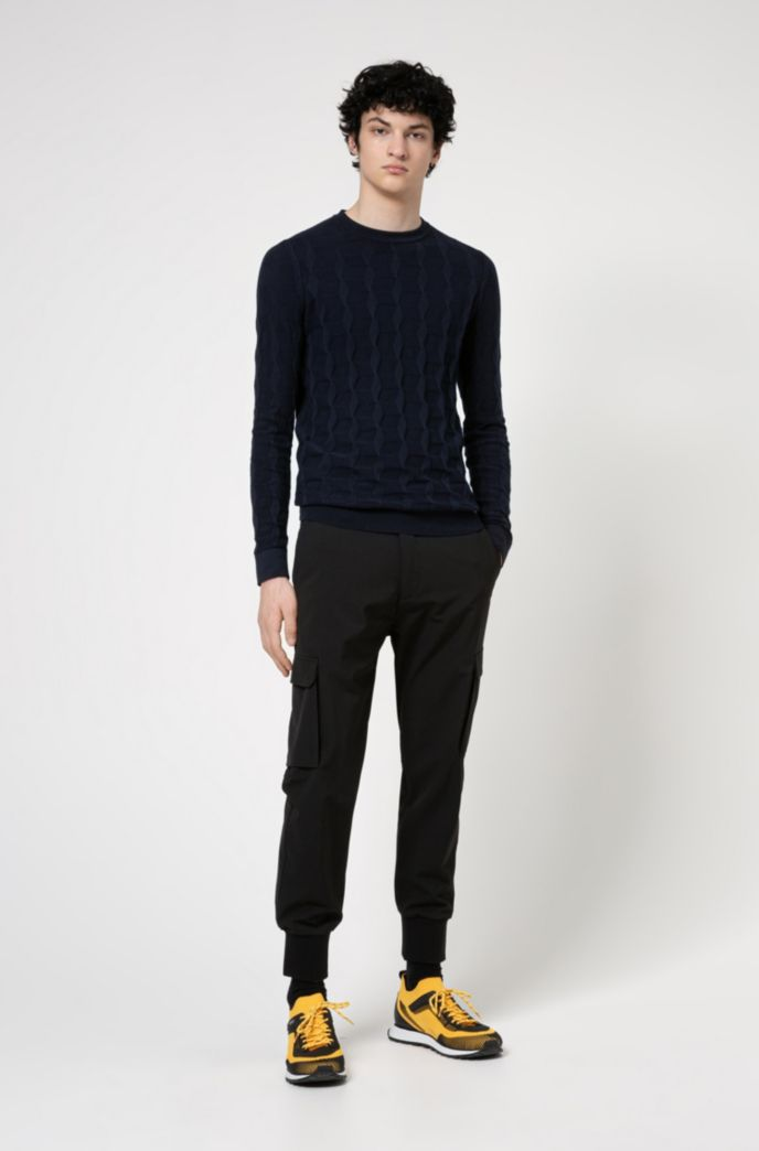 Regular-fit sweater in structured cotton