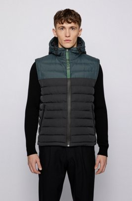 Quilted hooded gilet with water-repellent finish, Black