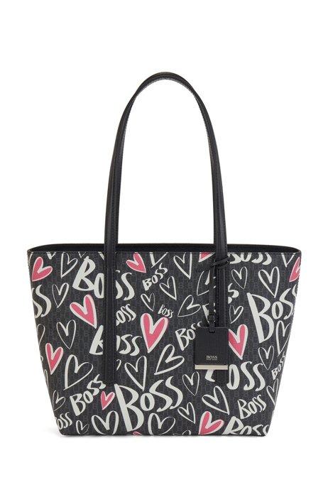 Shopper met monogram, hartjes en logo-artwork, Zwart