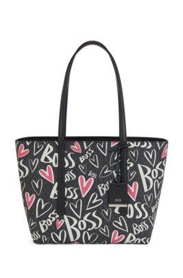 Monogram shopper bag with heart motifs and logo artwork, Black