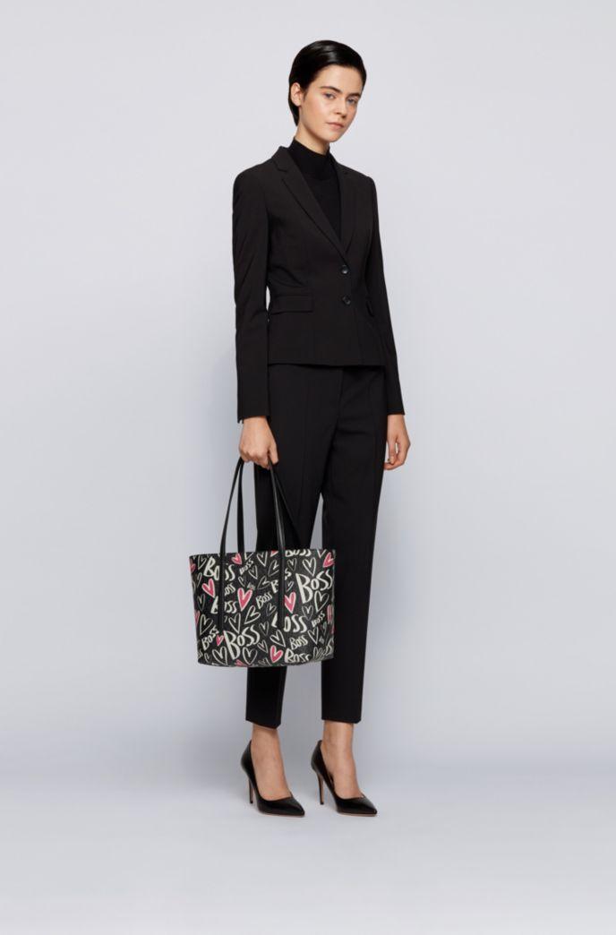 Monogram shopper bag with heart motifs and logo artwork