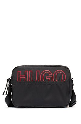 Packable cross-body bag in recycled nylon, Black