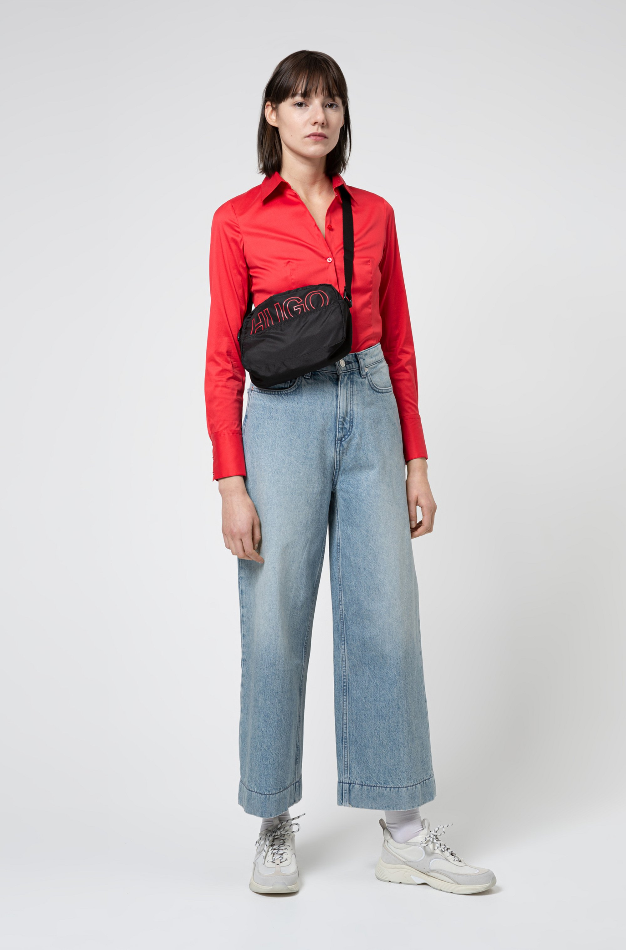 Packable cross-body bag in recycled nylon
