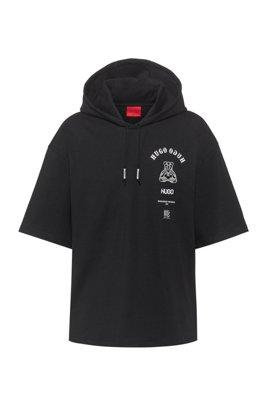 Sweat à capuche à manches courtes avec motif artistique emblématique de la collection, Noir