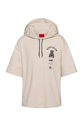 Short-sleeved hooded sweatshirt with collection-themed artwork, White